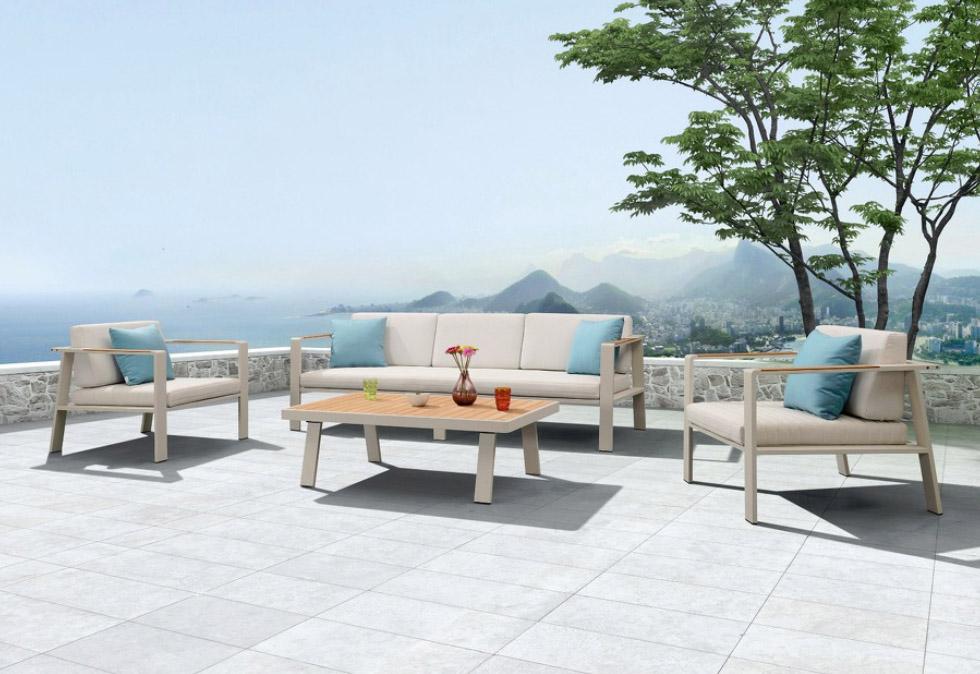 muebles nofi, sofa de 3 plazas y mesa exterior