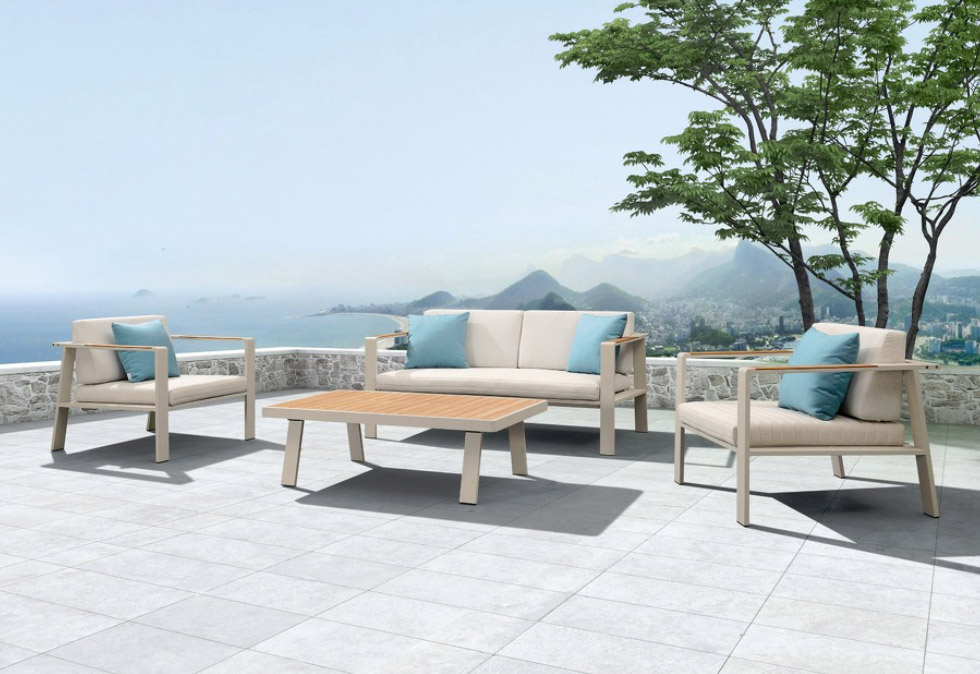 muebles nofi, sofa de 2 plazas y mesa exterior