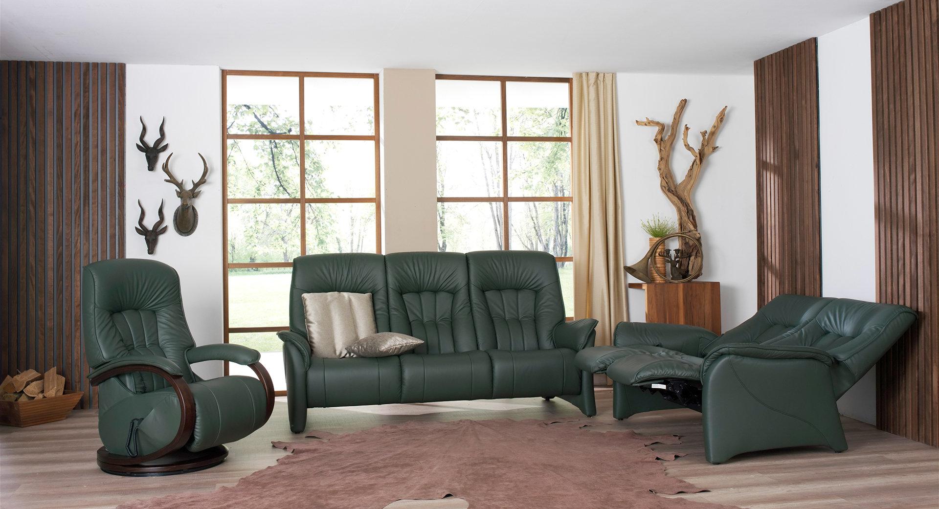 sofas de piel verde